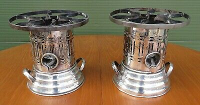 Pair of Antique Edwardian Apex Silver-Plate Burners Plate Warmers