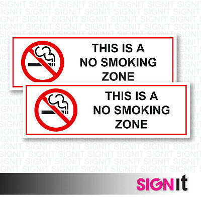 This Is A No Smoking Zone - No Smoking Sign Vinyl Sticker (50mm x 150mm)