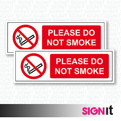 Do Not Smoke - Please Do Not Smoke Sign Vinyl Sticker (50mm x 150mm)