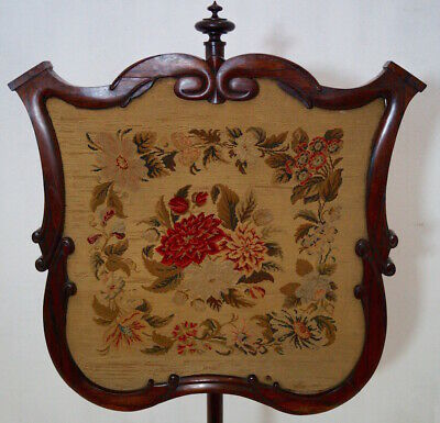 A 19th Century Victorian Rosewood Tapestry Firescreen