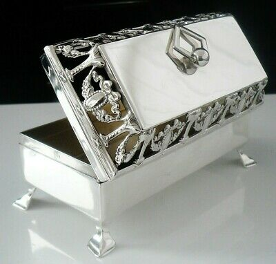 Immaculate Antique Silver Trinket Box with Pierced Work Lid, London 1908