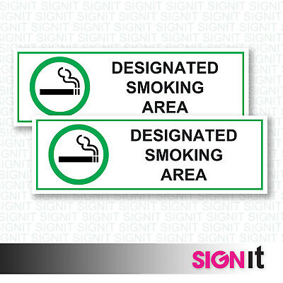 Designated Smoking Area - Smoking Area Sign Vinyl Sticker (50mm x 150mm)