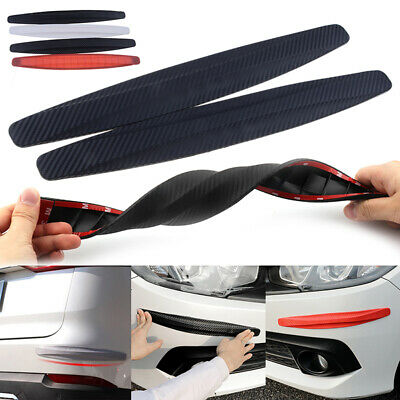 2Pcs Carbon Fiber Front/Rear Car Bumper Sticker Scratch Protector Guard Strips