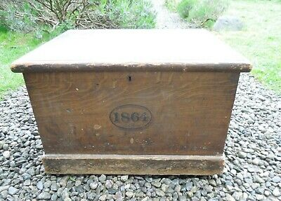 Antique Wooden Chest Deed Box, Irish Country House Scumble Painted Finish 1864