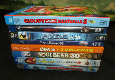 LOT OF 8 3D Bluray blu ray movies family animated w/ cases sleeves lot 4