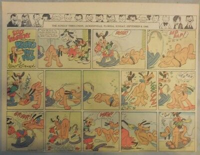 Pluto The Pup Sunday Page by Walt Disney from 9/8/1940 Half Page Size