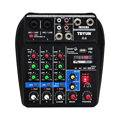A4 Sound Mixing Console Bluetooth USB Record  Phantom Repaeat Effect 4 Channels