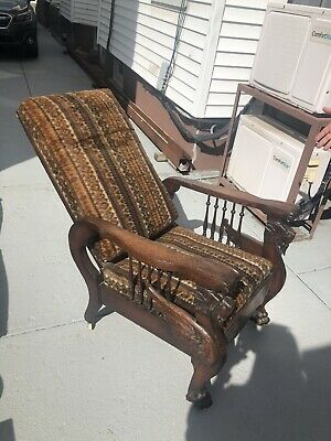 Morris Chair S A Cook & Co Antique Recliner Mahogany Wood RARE Winged Griffins