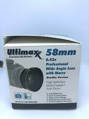 ULTIMAXX 58mm 0.43X PROFESSIONAL WIDE ANGLE LENS WITH MACRO NEW OPEN BOX