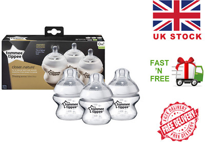Tommee Tippee Closer to Nature 150 ml Baby Feeding Bottles 3 Pack Anti-Colic