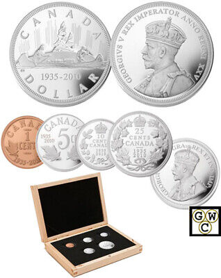 2010 Prf Set of 5 Coins '75th Ann. of the First Canadian Dollar Coin'(12680) XEG