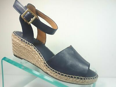 b4be630f33e CLARKS PETRINA SELMA Navy Leather Espadrille Wedge Sandals Women's Size 6.5  NEW