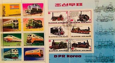 * Trains Transport - 2 Souvenir Mini Sheets Thematic Topical Stamps 02190918 *