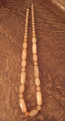 Vintage Long Graduated Pink Marbled Plastic Bead Necklace Retro Art Deco Look