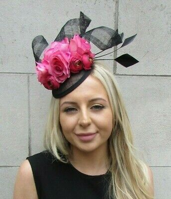 Black Cerise Hot Pink Rose Flower Feather Hat Hair Fascinator Races Wedding 7200