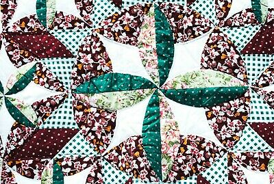 Vintage Patchwork Quilt Double Full Queen bed 88x98 Scalloped Green Floral Star
