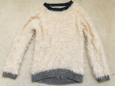 Girls Cream Fluffy Long Sleeve Jumper Age 8 Years from Next