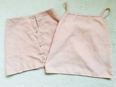 Girls Salmon Colour 2 Set Faux Suede Skirt and Top Age 9 Years from Debenhams
