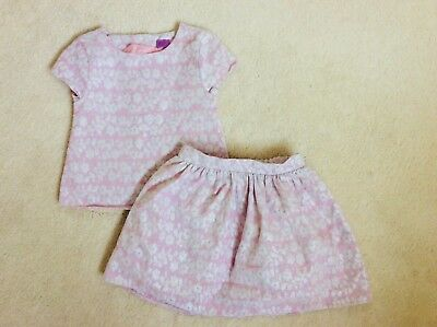 Girls Pink And Silver 2 Set Outfit Skirt and Top Age 5-6 Years from F&F