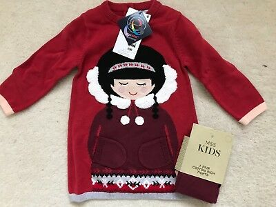 BNWT Baby Girls Red Mix Patterned Knitted Dress and Tights Age 9-12 month from M