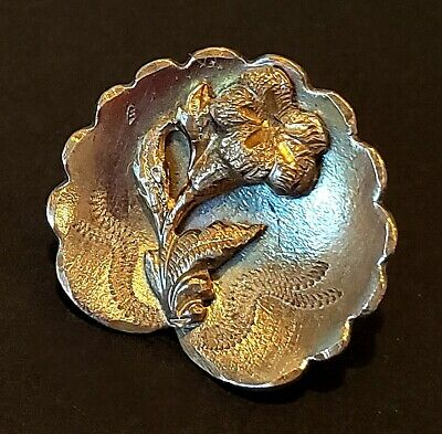 Antique Metal Button…Engraved Scalloped Cup with Applied Flower…Lovely!!!