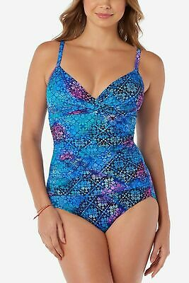 c45522475b43d Swim Solutions Craft Fair Allover Slimming One-Piece Swimsuit Blue 16 NWT  $129