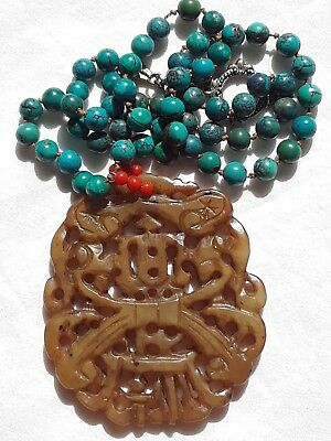 Vintage Hand Carved Chinese Jade Pendant & Turquoise Necklace Huge Piece If Jade