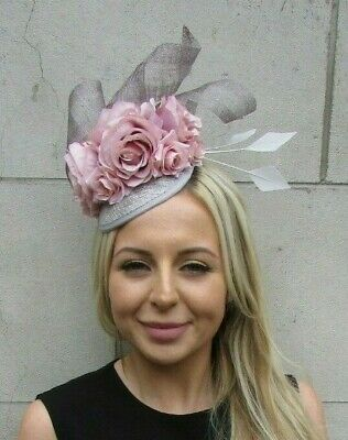 Blush Light Nude Pink Grey Rose Flower Feather Hat Fascinator Races Hair 7208