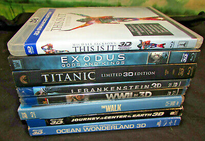 LOT OF 8 3D Bluray blu ray movies drama action adventure w/ cases sleeves lot 5