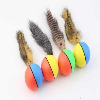 Dog Cat Weasel Motorized Funny Rolling Ball Pet Appears Jump Moving Alive Toy_~