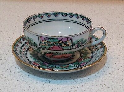 Chinese export rose medallion tea cup and saucer