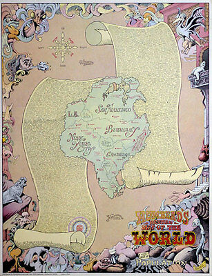 Rick Shubb Humbead's Revised Map of the World 1970 Hippie Counterculture Poster