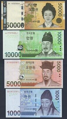 South Korea Set**P54-P55-P56-P57**1000/5000/10000/50000 Won**Unc Gem**Usa Seller