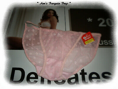 Dimmeys-Ladies-Size L-14-16-Skimpy-Floral-Lace-String-Bikini Brief | P/Pink-BNWT
