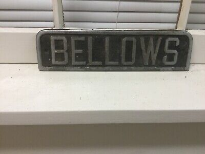 ANTIQUE FUNERAL HOME sign plaque for Hearse    BELLOWS    cast metal