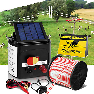 3km Solar Power Electric Fence Charger Kit Farm Fencing Tape Insulator Sign NEW