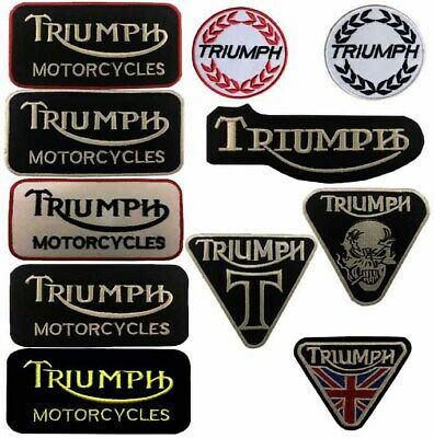 Triumph motorbike motorcycle biker embroidered iron on patches sew on badges
