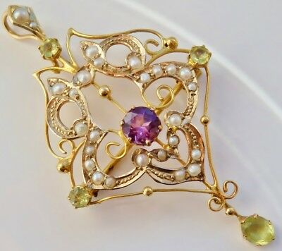 Antique Edwardian Suffragette 9ct Gold Amethyst Peridot & Pearl Pendant c1910