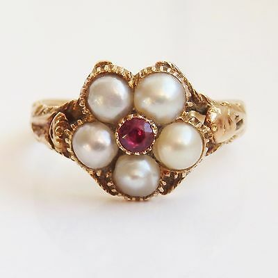 Stunning Antique Georgian Regency 15ct Gold Ruby & Pearl Cluster Ring c1835