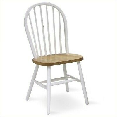 Pemberly Row Spindleback Windsor Dining Chair in Natural and White