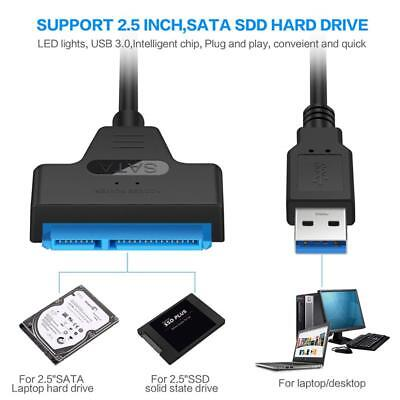"22 Pin USB 3.0 to 2.5"" SATA III Hard Drive HDD SSD Adapter SATA Converter Cable"