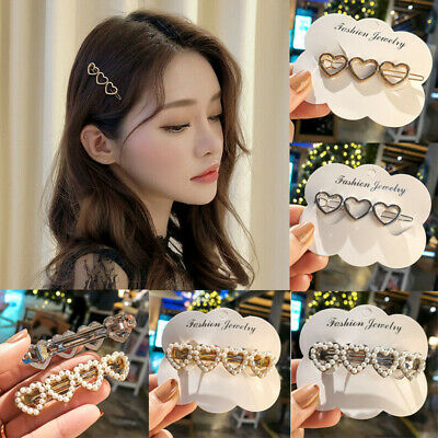 Women Hair Clip Crystal Elegant Pearl Hairpin Jewelry Girl Headdress Barrettes