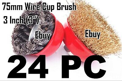 "24 Wire Cup Brush 3"" (75mm) for 4-1/2"" (115mm) Angle Grinder Twist Knot Crimped"