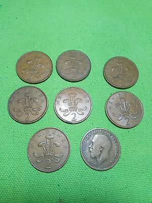 2 penny pence 1 penny 1916 coins lot 1971 1975 1981 GREAT BRITAIN UK