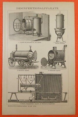 Desinfektionsapparate Desinfektion   Holzstich von 1897 Thursfields Apparat