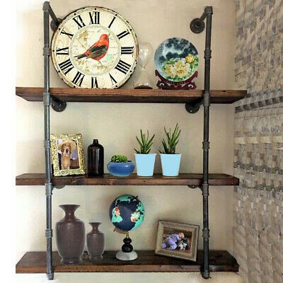 Industrial Retro Iron Pipe Shelf Wall Mount Storage Shelving Brackets 145cm DIY