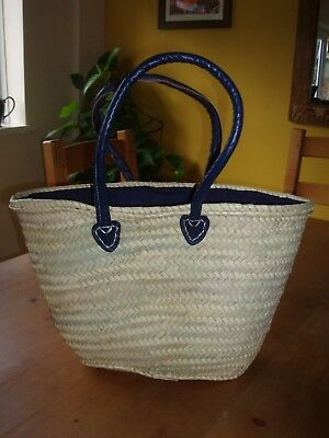 Eco Friendly Palm Leaf Shopping Bag Basket Blue Leather Handles and Blue Cover