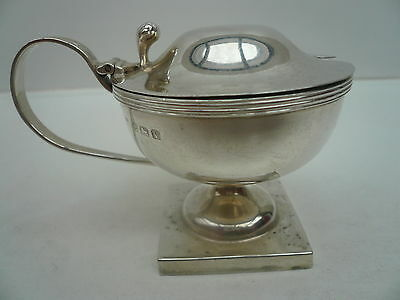 Silver Mustard Pot, Sterling, English, Condiment,Hallmarked 1920.