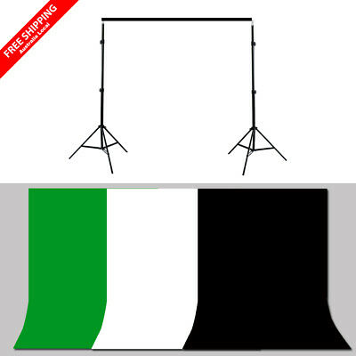 Photography Studio 3x3.6m Muslin Backdrop 2.5x3m Background Support Stand Kit AU