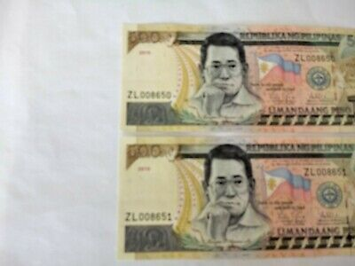 Circulated 2 PHP500 Notes With Consecutive Prefix Numbers. Ideal For Collection.